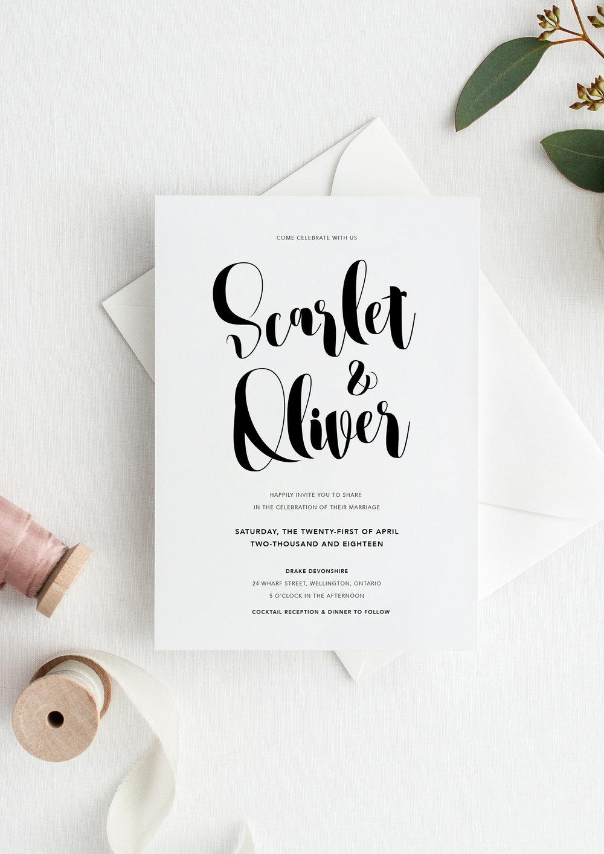 scarlet and oliver modern calligraphy wedding invitation.jpg