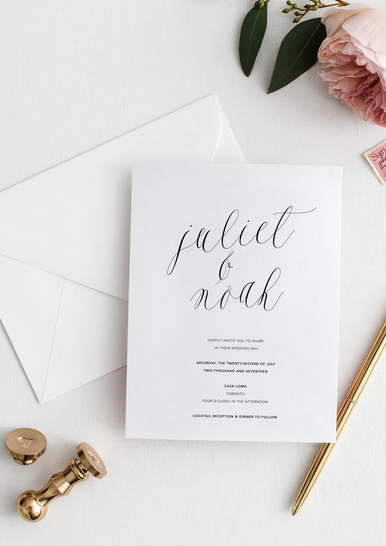 Juliet and Noah modern calligraphy wedding invitations.jpg