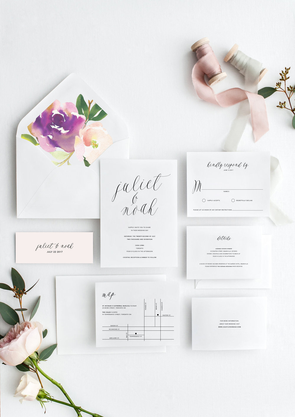 Juliet and Noah modern calligraphy wedding invitations