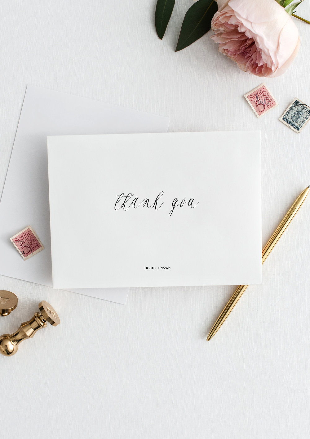 Juliet and Noah modern calligraphy wedding thank you notes