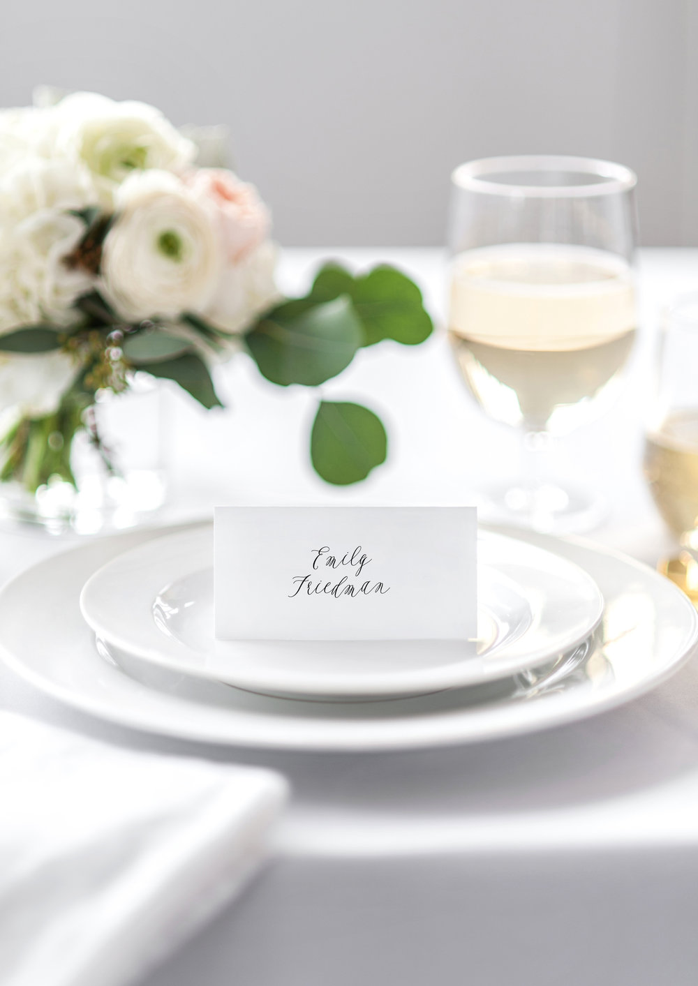 Juliet and Noah modern calligraphy wedding place cards