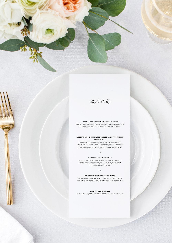 Juliet and Noah modern calligraphy wedding menu