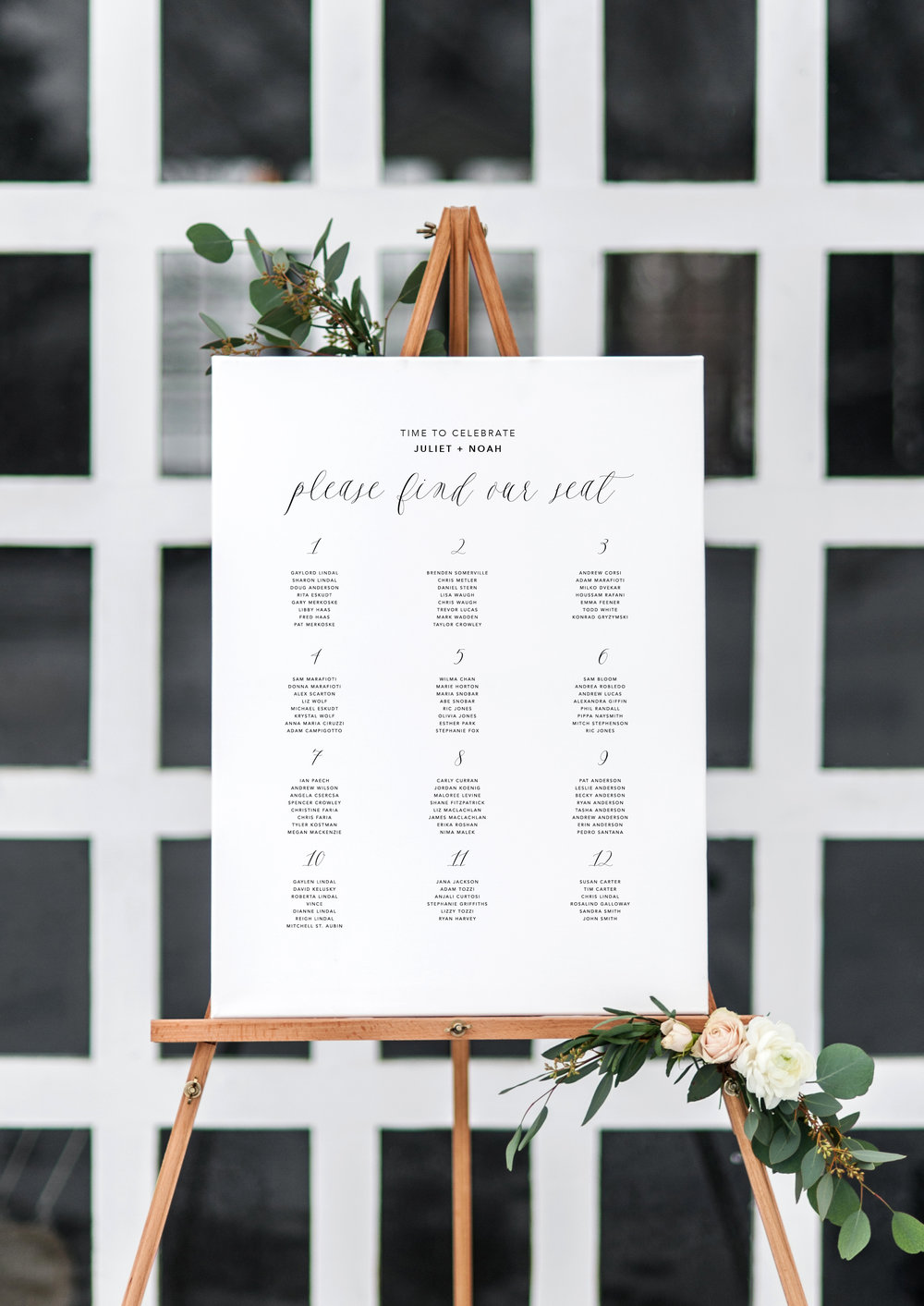 Juliet and Noah modern calligraphy wedding seating chart