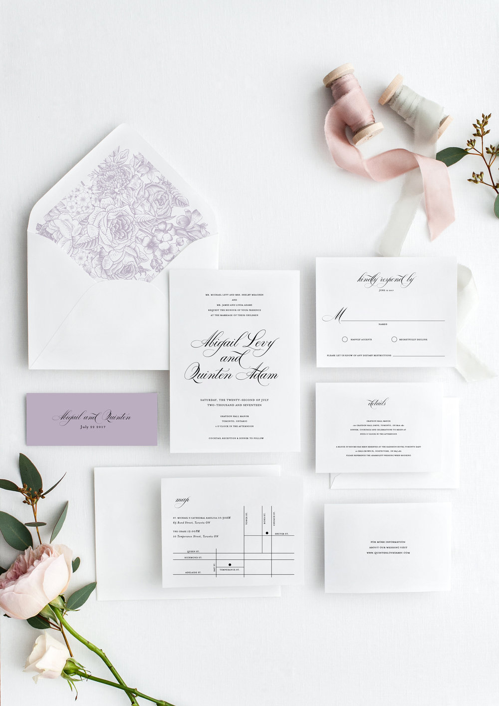 abigail and quinten timeless elegant wedding invitation