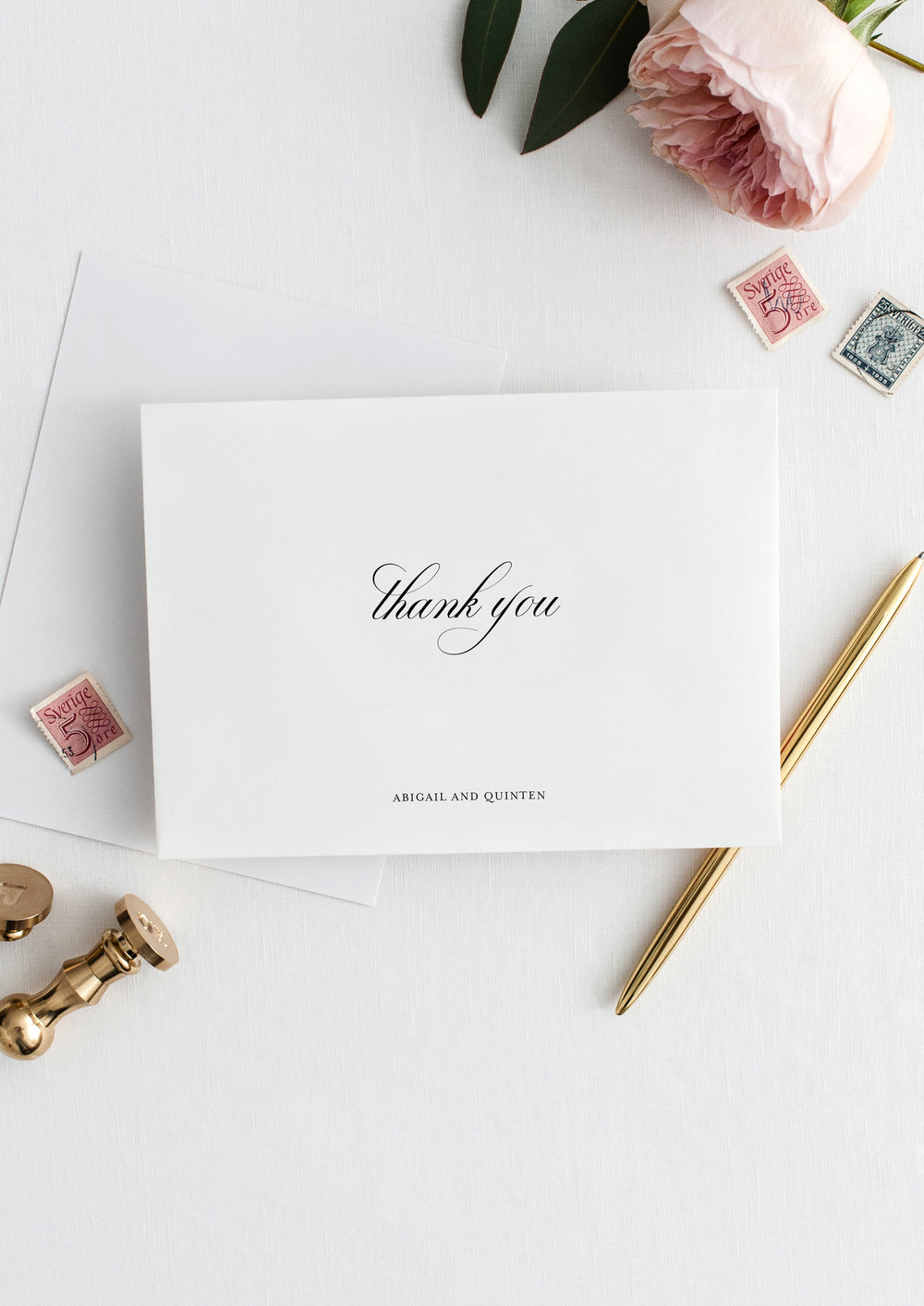 abigail and quinten timeless elegant wedding thank you card