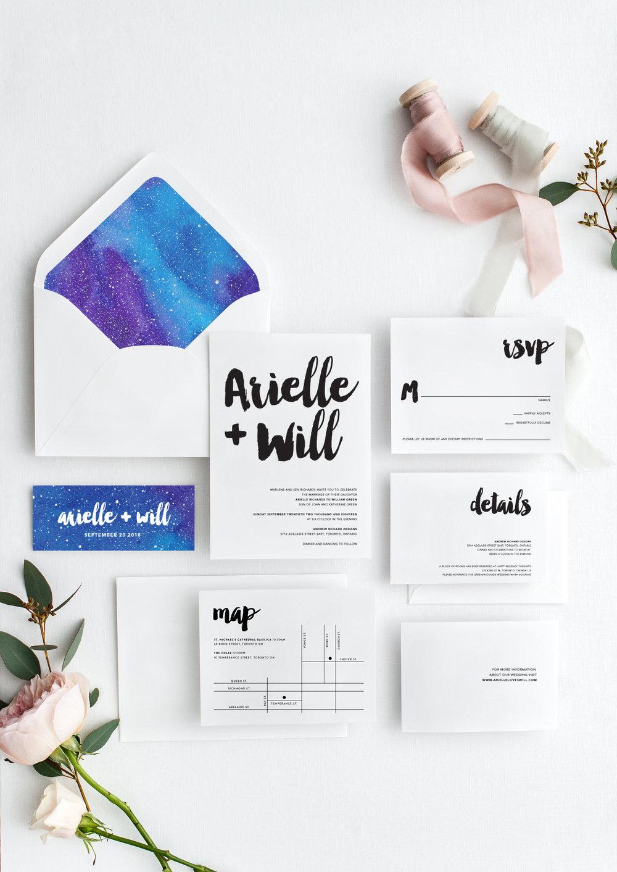 arielle and will modern creative wedding invitations