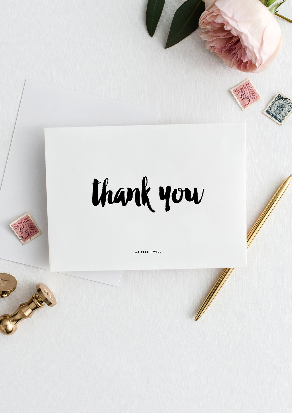arielle and will modern creative wedding thank you card