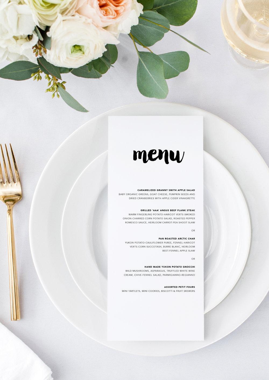 arielle and will modern creative wedding menu