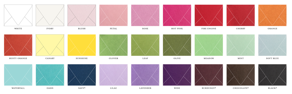 envelope colour options for invitations