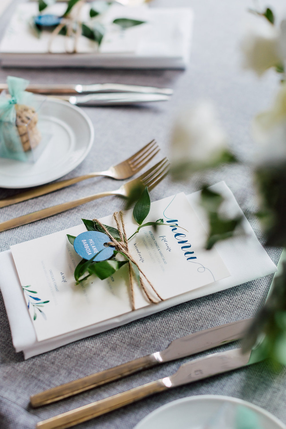 Chic botanical wedding – menu and place cards, custom designed by Silverplate Press