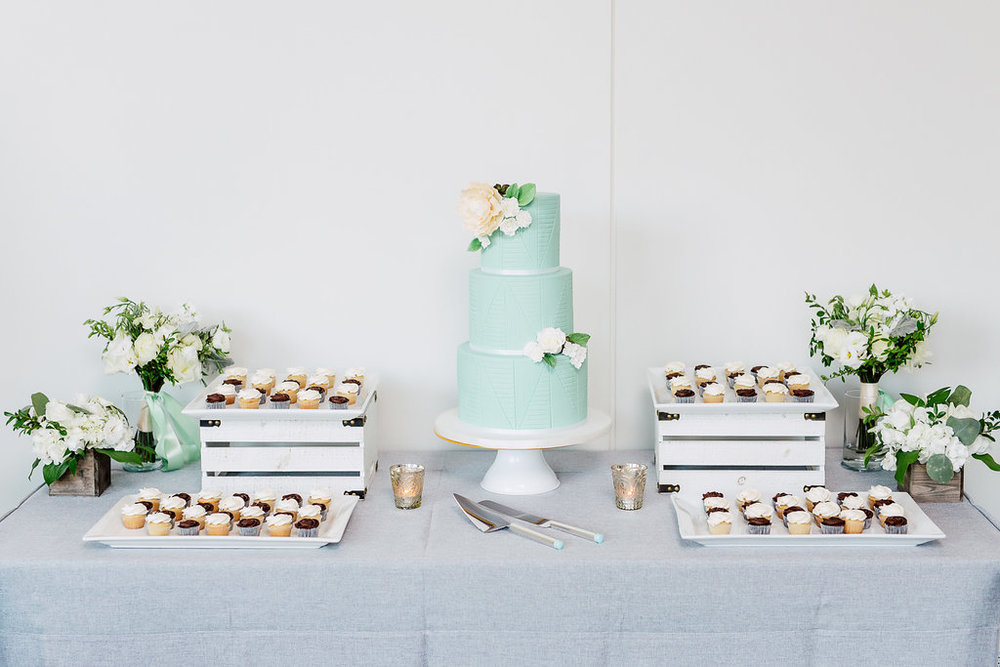 Tiffany Blue Wedding Cake and cream florals, Toronto wedding