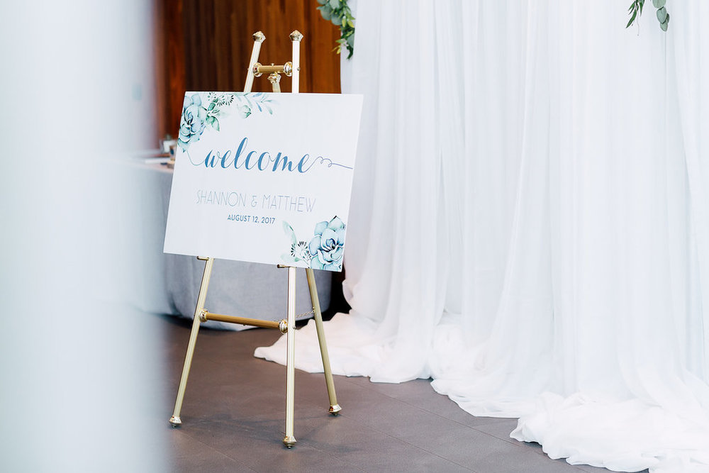 Wedding welcome sign for chic botanical wedding