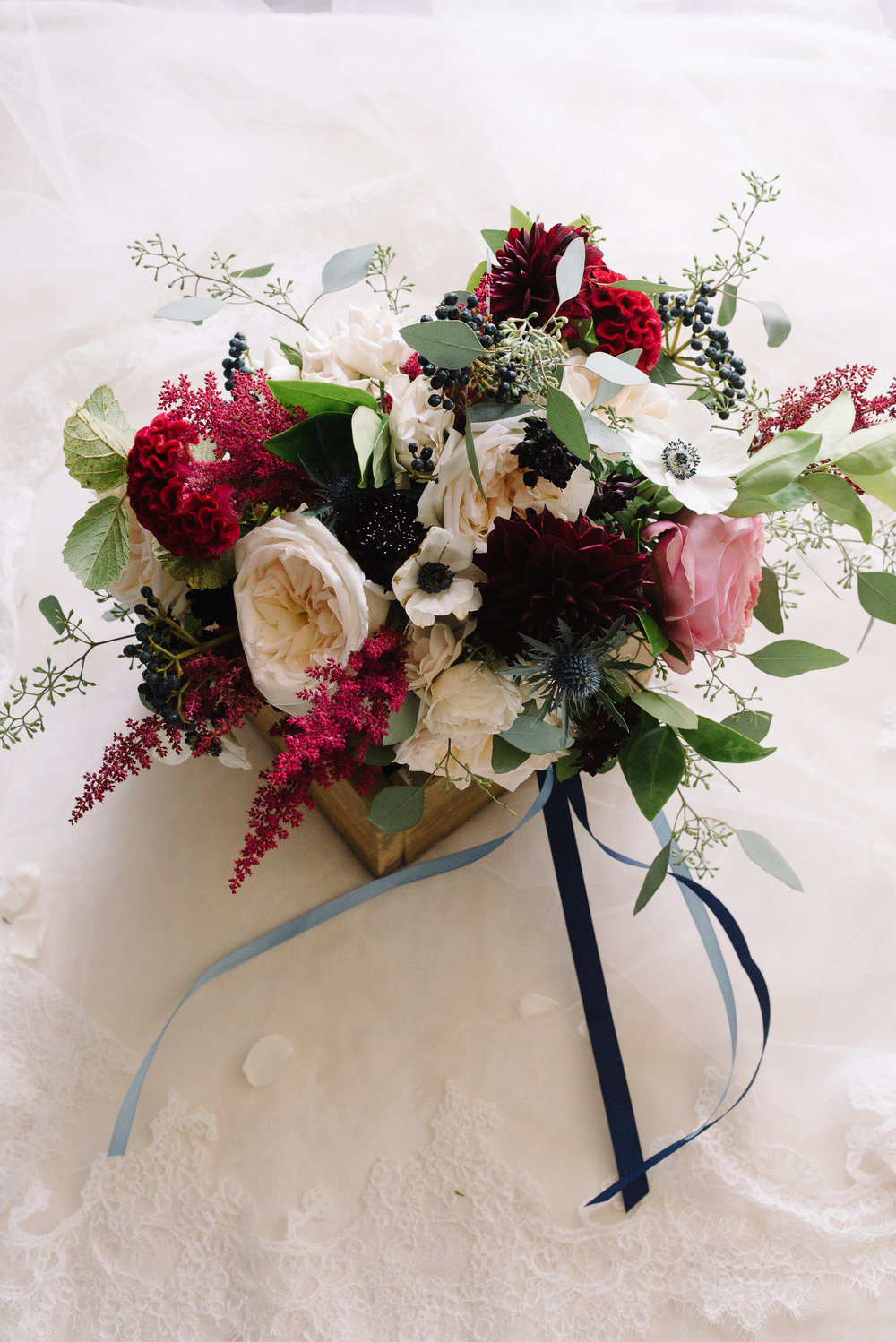 Beautiful jewel coloured wedding bouquet