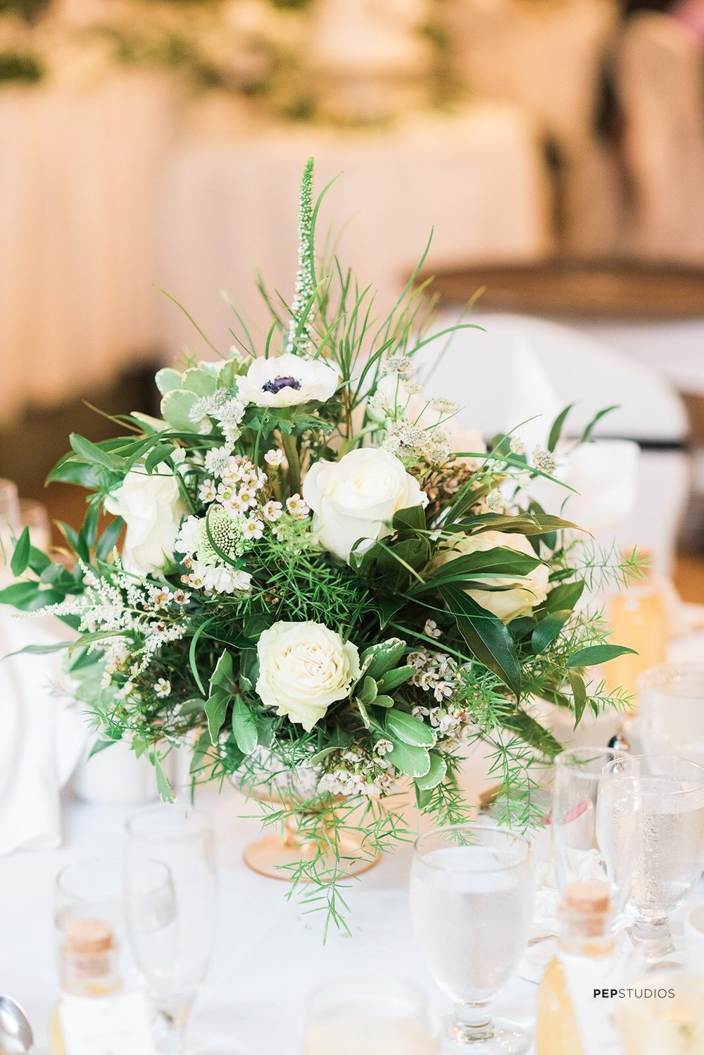 White and Green flower centrepiece