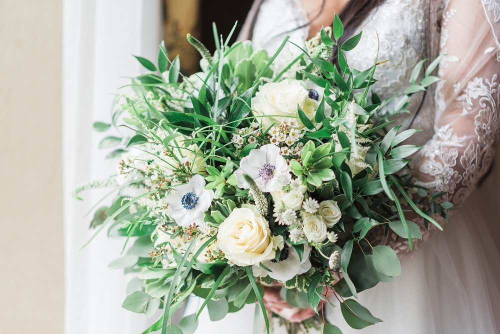 Gorgeous green and white flower wedding bouquet