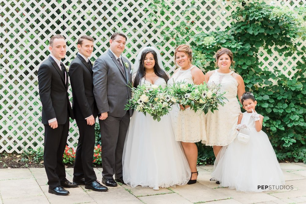 white and ivory and green wedding