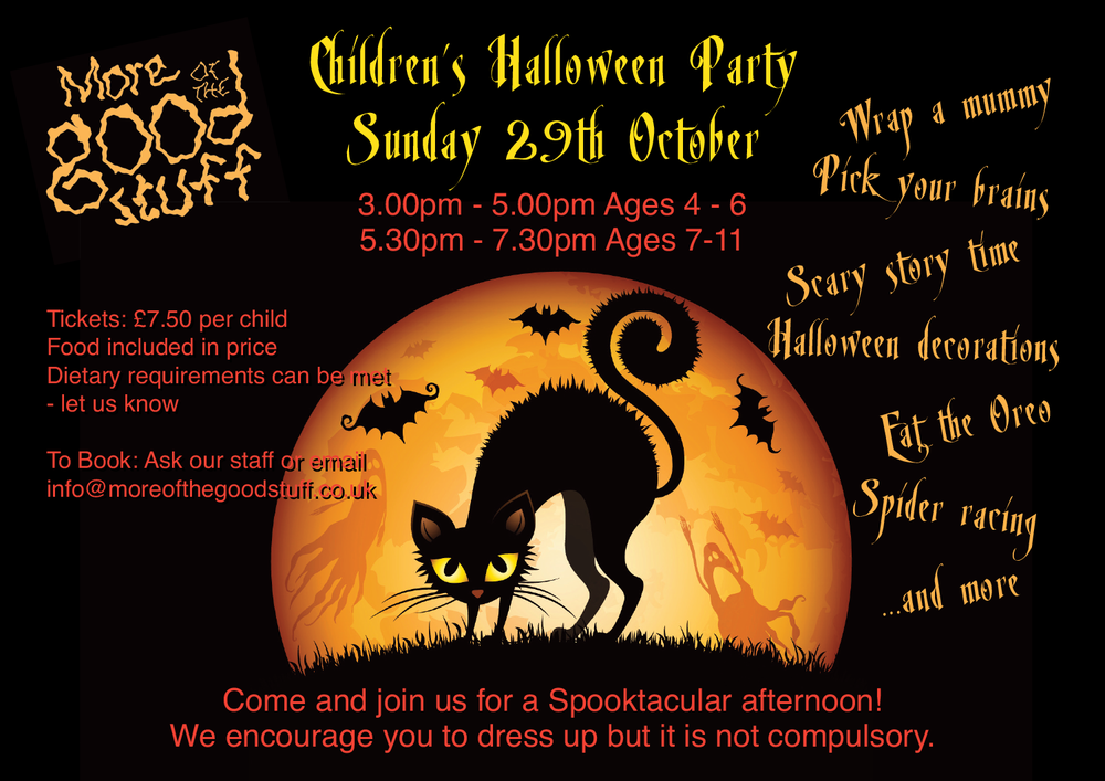 Halloween - We run a Halloween party suitable for ages 4-6 years of age.