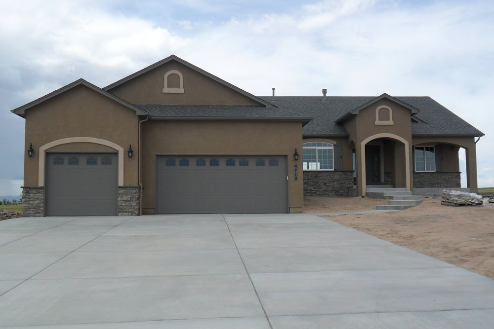 The Oasis - 3,884 Square Feet5 bedroom, 3 bathroom ranch plan with an open design featuring a large kitchen and beautiful master suite. Includes 4 car garage and covered front porch.