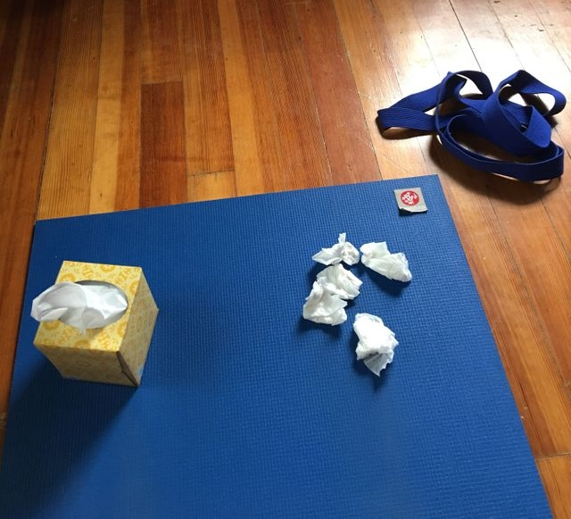 Sometimes tissues are needed on the mat...