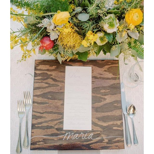 This was a fun project with a little white lettering on some beautifully stained boards by @chic_celebrations. Photo by @kristamasonphotography #losangelescalligrapher #orangecountycalligrapher #calligraphy #weddingdetailshot