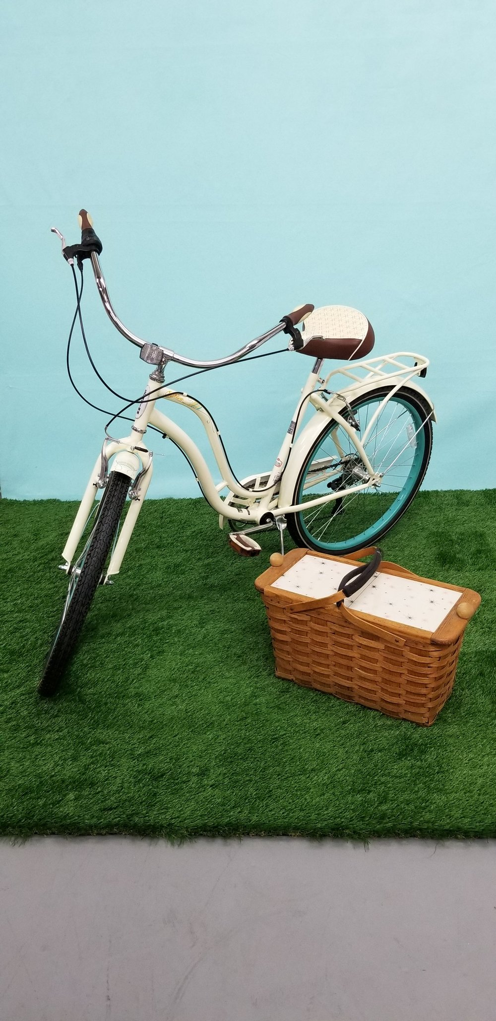 Vintage bicycle and grass floor