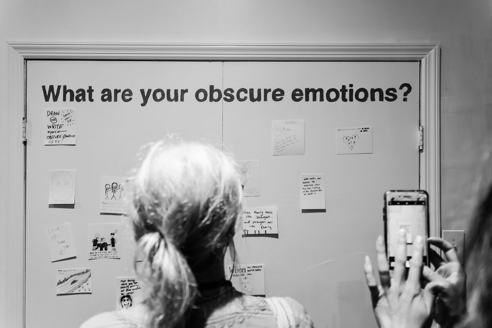 Visitors had a chance to illustrator and write out their personal obscure emotions on this interactive wall.