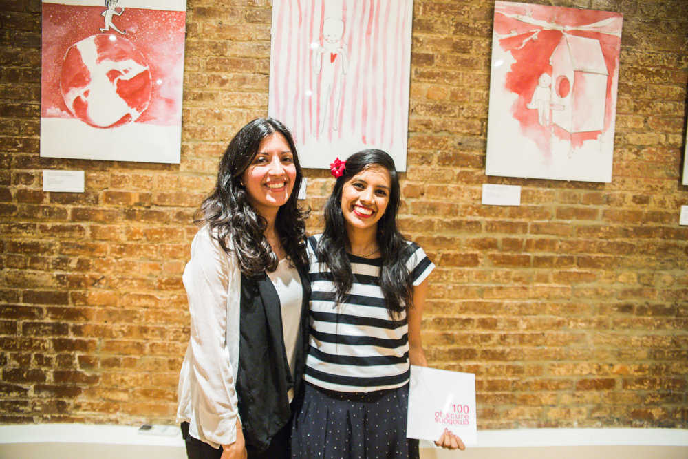 Rukmini Poddar (Right) and her friend and curator, Radhika Kosharay (Left)