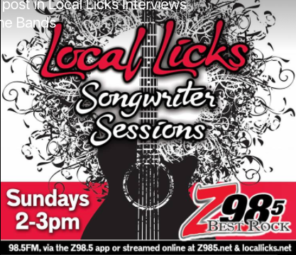 local licks Songwriter sessions on z98.5 wzlq - Original music, stories behind the songs and interviews featuring local and regional artists. Live stream www.locallicks.net and www.z985.netEvery Sunday 2:00- - 3:00pm CT (12:00-1:00pm PT)
