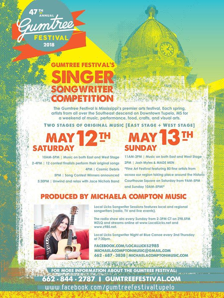 gumtree song COMPETITION - Local Licks has partnered with GumTree Festival to revamp the 28th Annual Songwriters Festival & Competition.May 12 - 13, 2018 - Tupelo MS