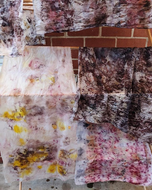 Plant dyes drying in the spring breeze 🍃🌻😻Created from flower waste 🥀