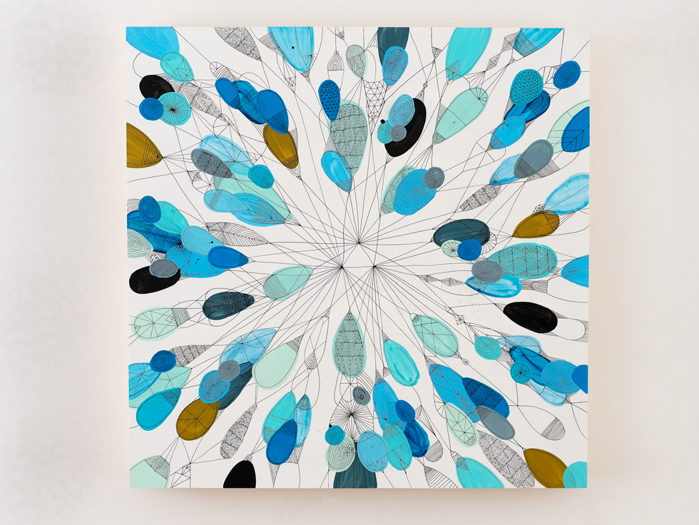 2010 Untitled (Burst) acrylic and ink on panel, 32 in x 32 in