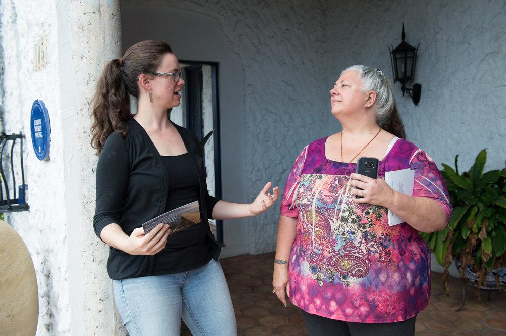 Radical Honesty Trainer, Raven Dana, listens to then trainer-candidate, Kara Pourbaugh.