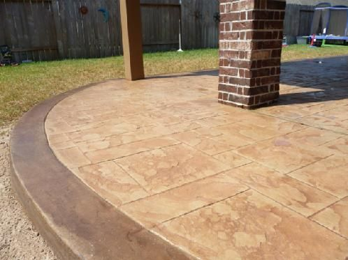 Stamped concrete walkway and patio area best designs for Concrete home contractors