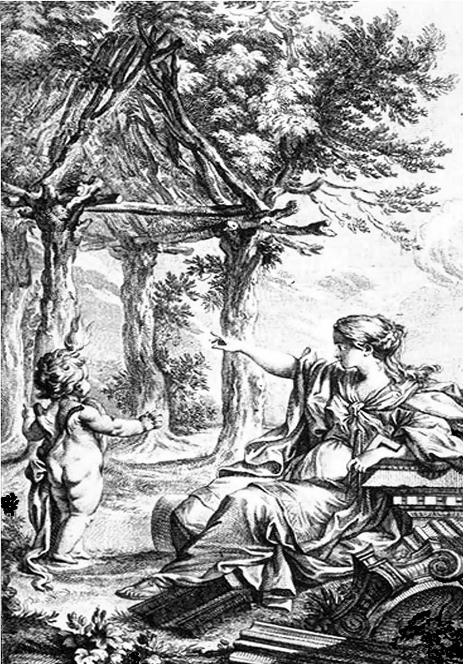Figure 3: Marc-Antoine Laugier, The Primitive Hut, Frontpiece of  Essai sur l'architecture (1755).
