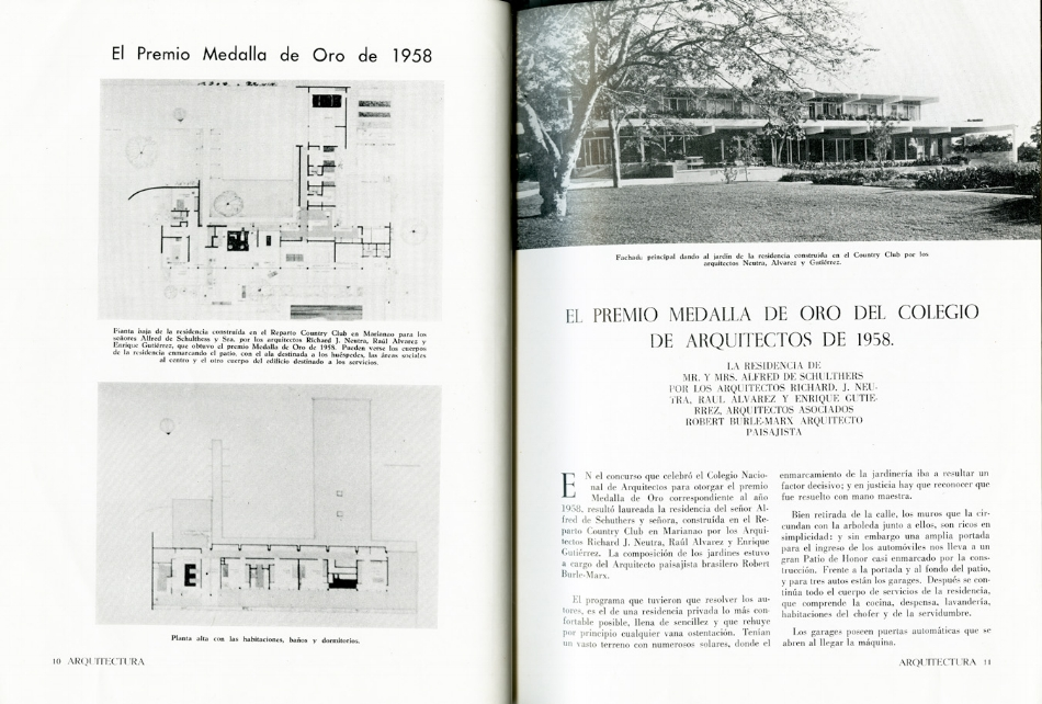 Figure 2. Mr. and Mrs. Alfred de Schultess Residence, Richard Neutra, 1956. Published in Arquitectura, January 1959. Archival Research, Avery Library, Columbia University in the City of New York.