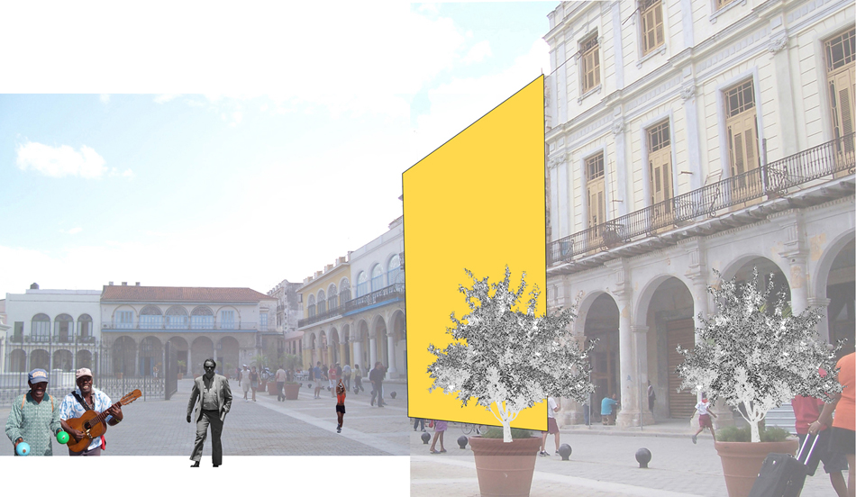 Collage: Plaza Vieja existing, Site Highlighted.