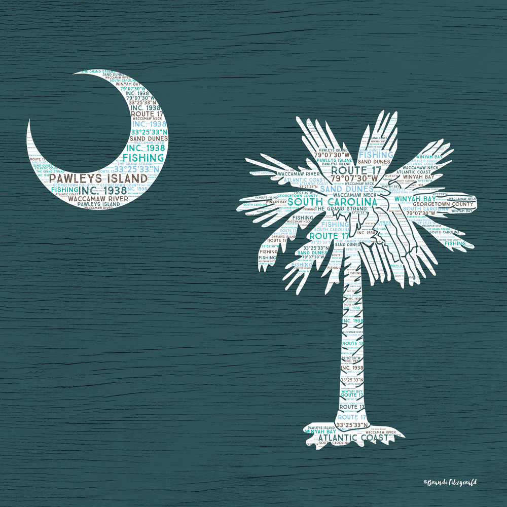 Palmetto on Teal Wood