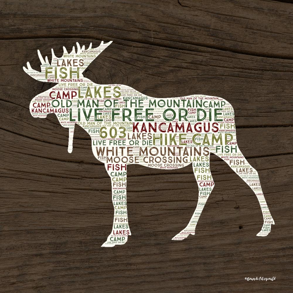 Moose on Brown Wood