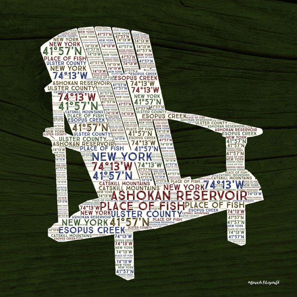 Chair on Dark Green Wood
