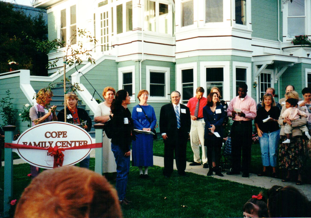 Jackie O'Neil (third from the left) at the ribbon cutting ceremony at Cope's original location at 1340 Fourth Street in Napa.