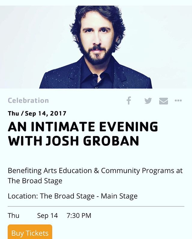 Excited to sing a duet with this guy @joshgroban tonight at @thebroadstage! What a pleasure to share the stage with such a beautiful band. . . #music #singers #SINGER #lachsa #lachsaalumni #losangeles #santamonica