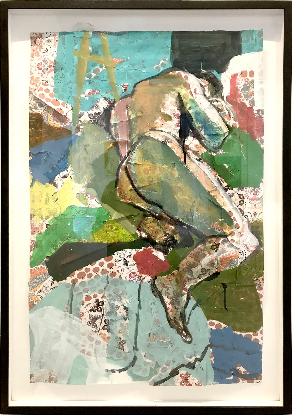 Barba Contemporary Art Tom Early, Paul in Recline, 28x40, acrylic on paper collage,  SOLD   + inquire