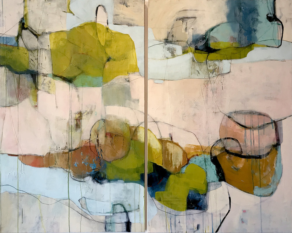Sleep Becomes Thin - diptych, 60x48, mixed media/acrylic on canvas,  SOLD   + inquire