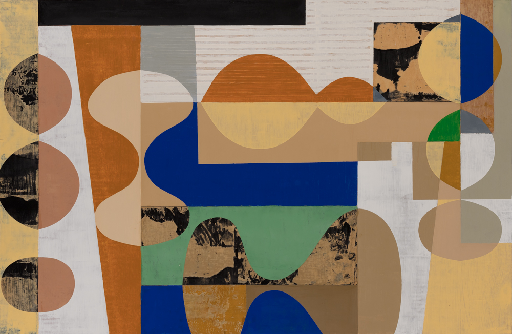 #41, 40x26, oil, collage on paper, mounted on panel, framed, $2200  + inquire