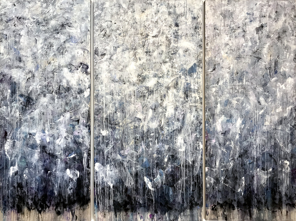 Something I've Been Meaning to Tell You - Triptych, 96x72, acrylic on canvas, $10000  + inquire