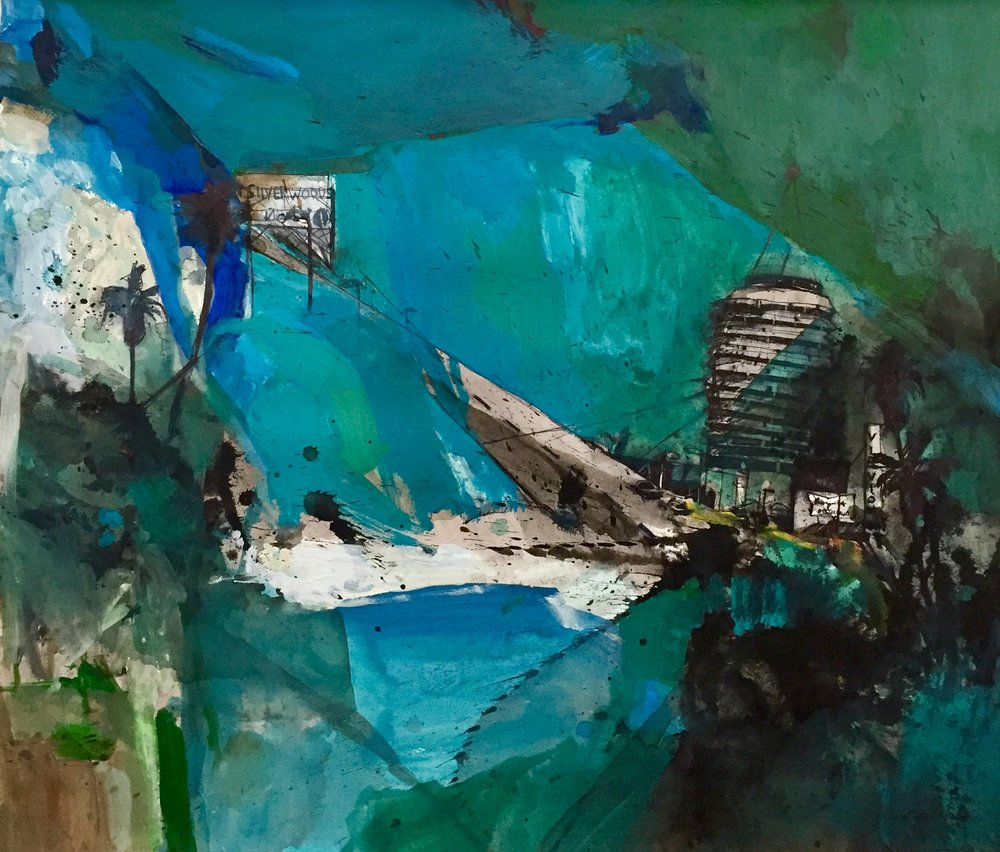 L.A. in Blue, 22x22, 32x32, mixed media on paper, $1800  + inquire