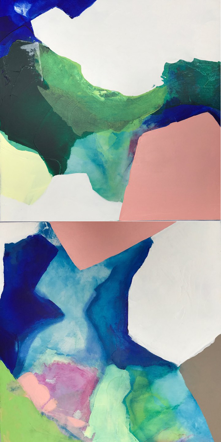 Depths - diptych, 24x48, mix media on canvas, $3200   + inquire