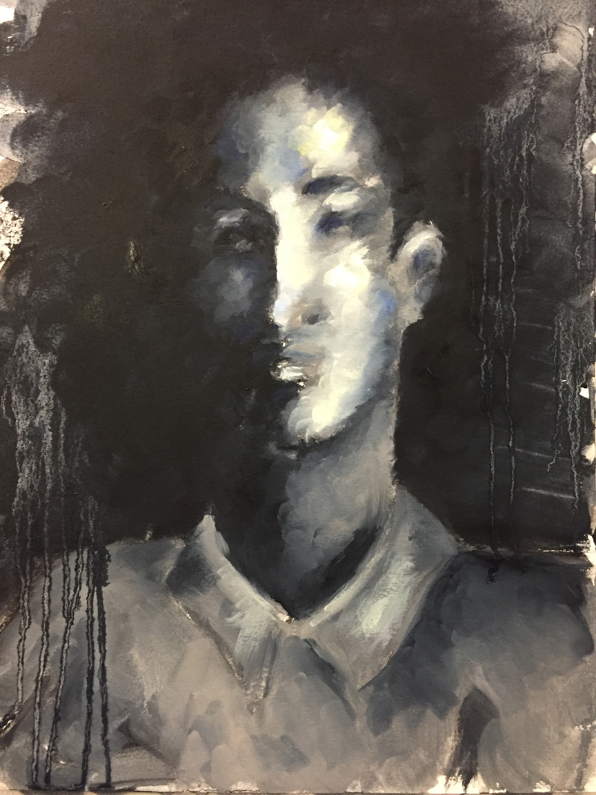 Portrait of Youth in Oil, 16x20, acrylic on paper, $600 - SOLD