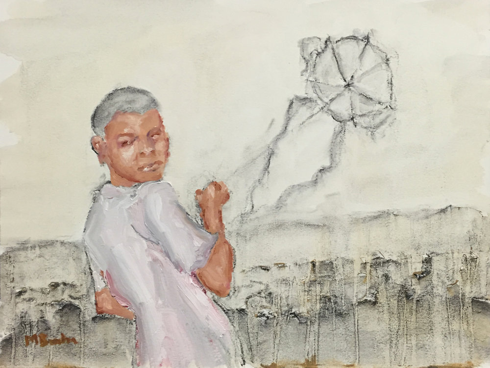 Go Fly a Kite, oil and charcoal on paper, framed, $450  + inquire