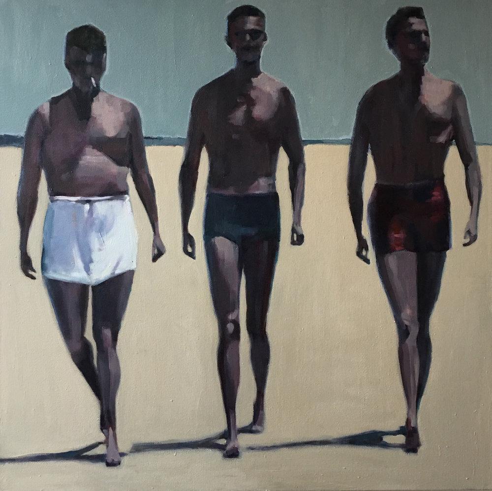 Three Men at the Beach, oil on canvas,36x36, $4800  + inquire